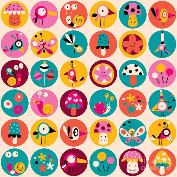 Wall Art - Digital Art - Flowers, Birds, Mushrooms & Snails by Alias Ching