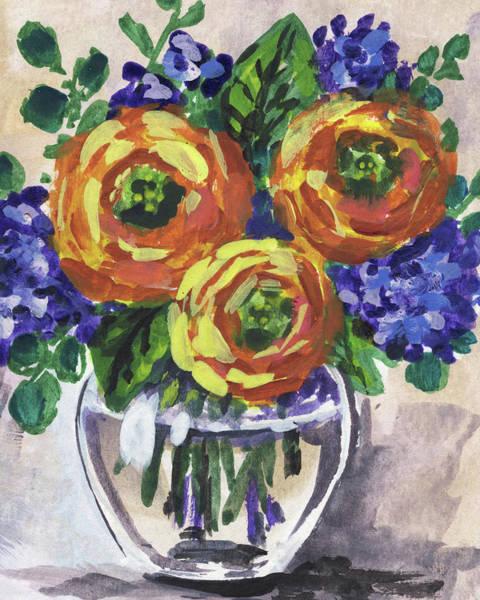 Wall Art - Painting - Flowers Bouquet Floral Yellow Warmth Impressionism  by Irina Sztukowski