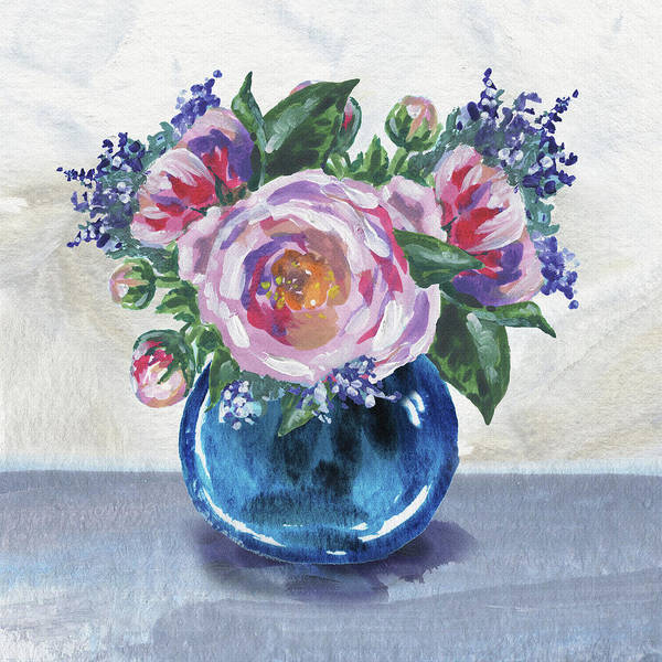 Wall Art - Painting - Flowers Bouquet In Blue Vase Floral Impressionism  by Irina Sztukowski