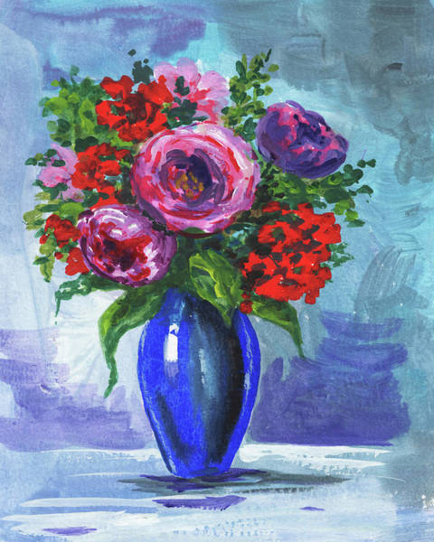 Wall Art - Painting - Flowers Bouquet In The Blue Floral Impressionism  by Irina Sztukowski