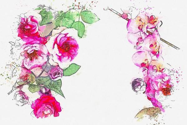 Painting - Flowers Combo -  Watercolor By Ahmet Asar by Ahmet Asar