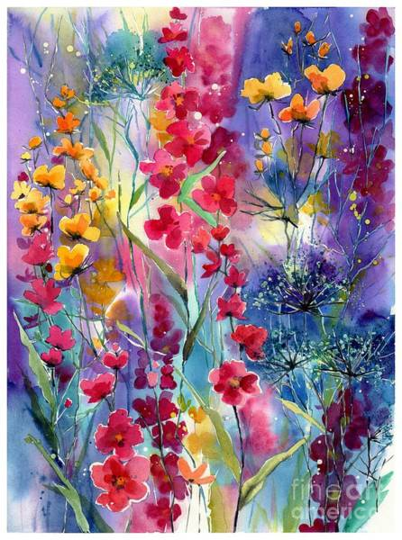 Watercolour Landscape Painting - Flowers Fairy Tale by Suzann's Art