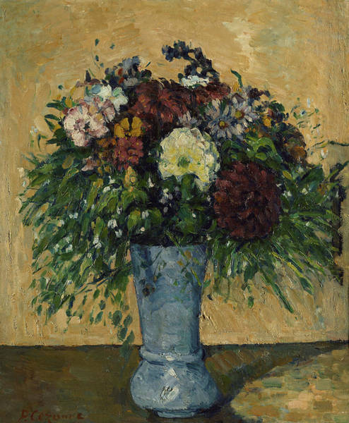 Wall Art - Painting - Flowers In A Blue Vase, 1877 by Paul Cezanne