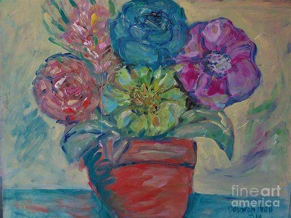 Painting - Flowers In A Clay Pot by Deborah Nell