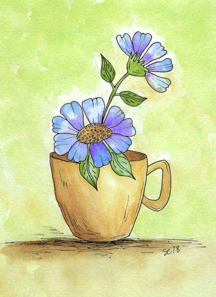 Painting - Flowers In A Teacup by Susan Campbell