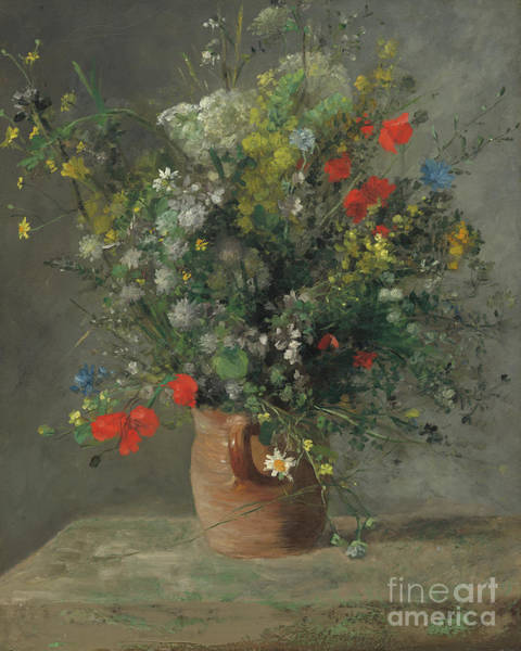 Wall Art - Painting - Flowers In A Vase, Circa 1866 by Pierre Auguste Renoir