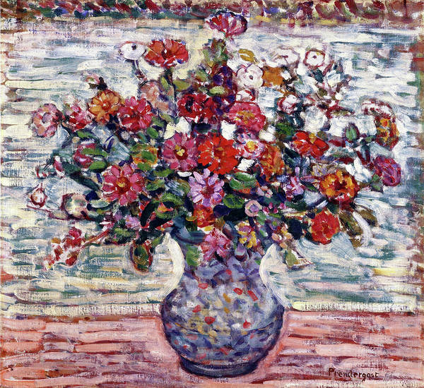 Wall Art - Painting - Flowers In A Vase, Zinnias - Digital Remastered Edition by Maurice Brazil Prendergast