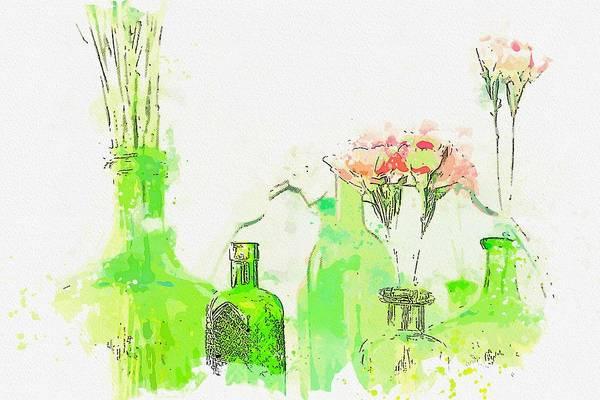Painting - Flowers In Bottles -  Watercolor By Ahmet Asar by Ahmet Asar