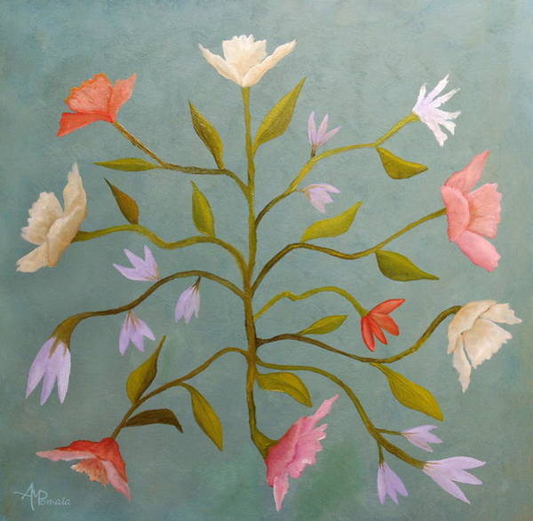 Painting - Flowers In Suspense by Angeles M Pomata