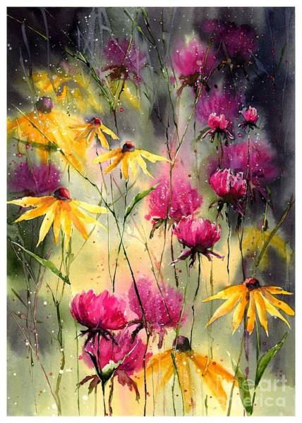 Watercolour Landscape Painting - Flowers In The Rain by Suzann's Art