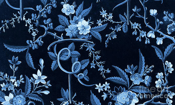 Wall Art - Drawing - Flowers On Dark Background, Textile Design by William Kilburn