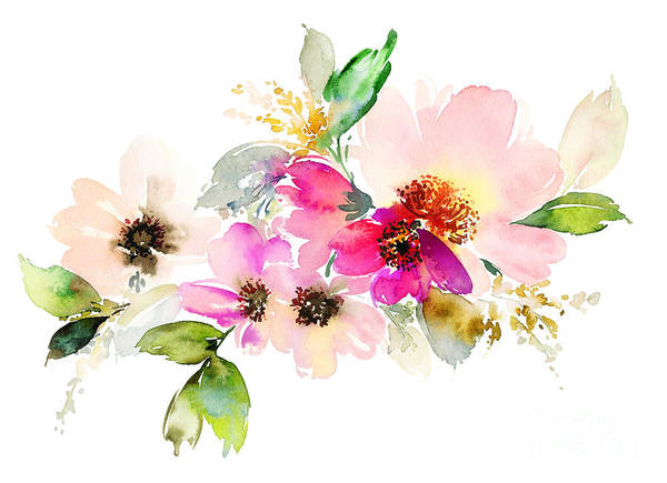 Manuscript Wall Art - Digital Art - Flowers Watercolor Illustration. Manual by Karma3