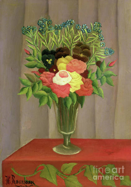 Wall Art - Painting - Flowers With A Lavender Background by Henri Rousseau