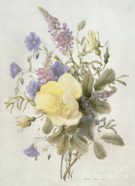 Wall Art - Painting - Flowers With A Yellow Rose, 1840  by French School