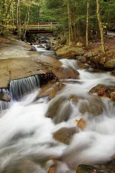 Franconia Notch Photograph - Flowing Water Cascade Or Waterfall by Adam Jones