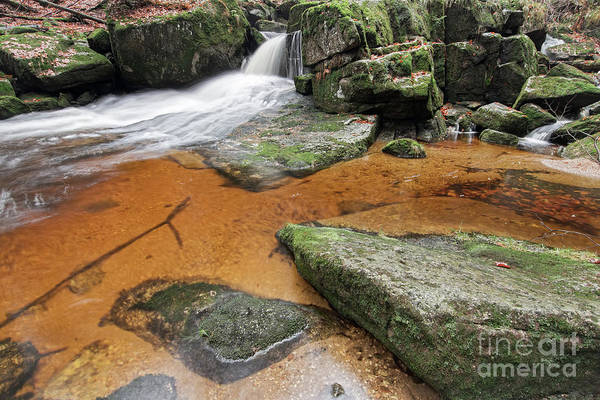 Wall Art - Photograph - Flowing Water Through Boulders On A Forest Creek by Michal Boubin