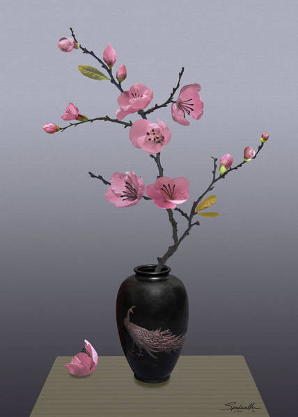 Wall Art - Digital Art - Flowering Pink Quince In Vase by M Spadecaller