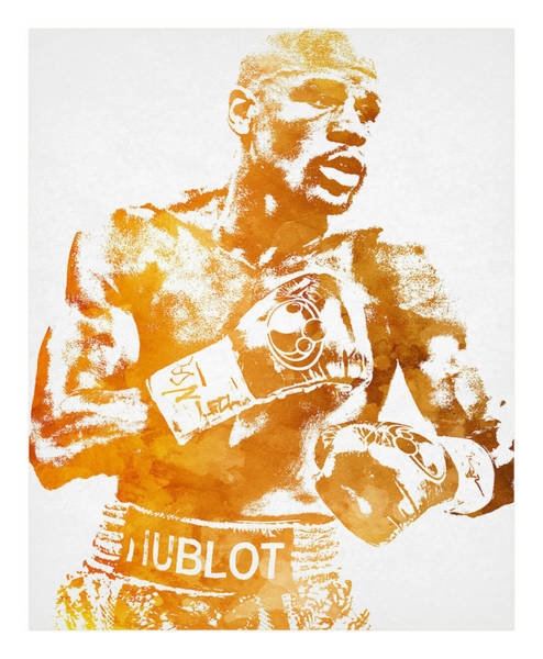 Fitness Mixed Media - Floyd Mayweather Boxer Pixel Art 1 by Joe Hamilton