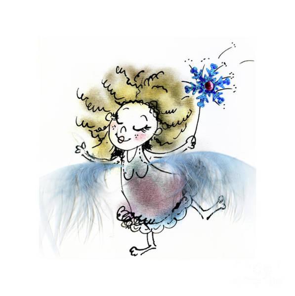 Wall Art - Mixed Media - Fluffy Blue Fairy by Angel Ciesniarska