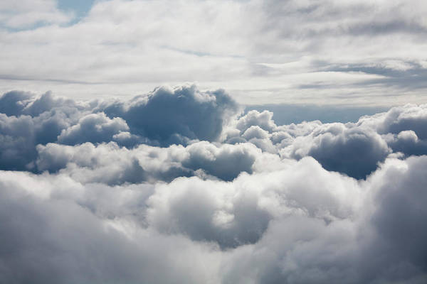 Looking Down Photograph - Fluffy White Clouds From Above by Carterdayne