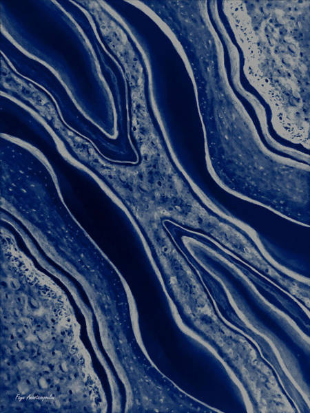 Wall Art - Painting - Fluid Motion Royal Blue by Faye Anastasopoulou