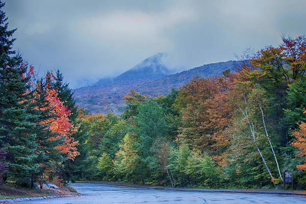 Pemigewasset River Wall Art - Photograph - Flume Gorge Parking Lot In Rain by Jeff Folger