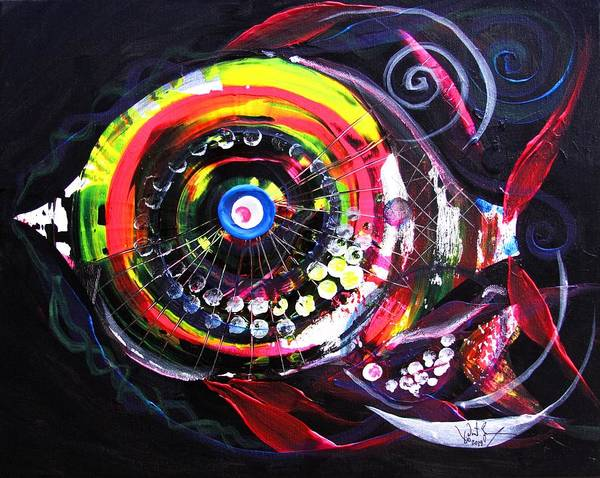 Neon Pink Painting - Fluorescent Fish And Friend by J Vincent Scarpace