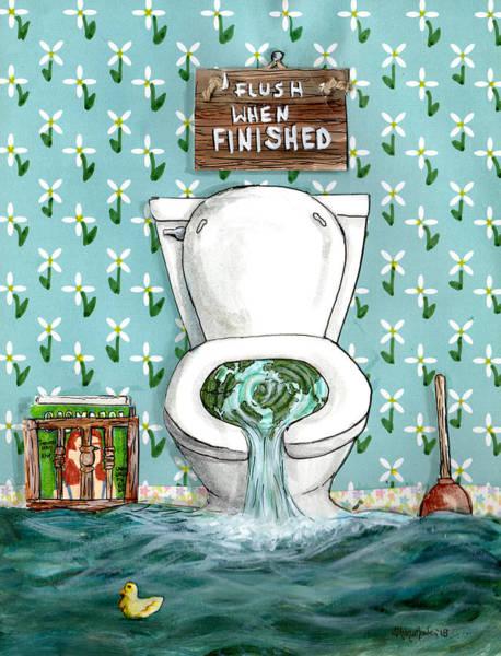 Wallpaper Mixed Media - Flush When Finished by Shana Rowe Jackson