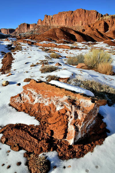 Photograph - Fluted Wall Along Highway 24 In Capitol Reef Np by Ray Mathis