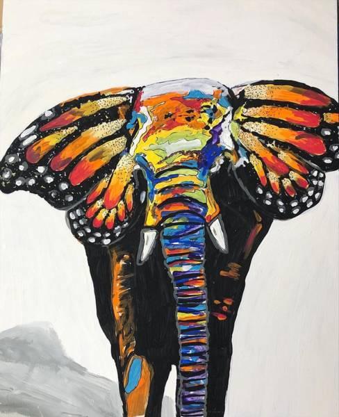 Wall Art - Drawing - Fluttering Elephant by Emily Castillo