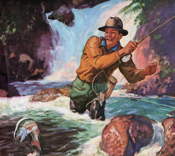 Wading Digital Art - Fly Fisherman Catching Trout by Graphicaartis