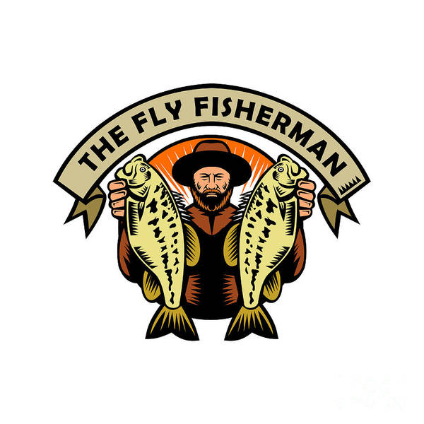 Wall Art - Digital Art - Fly Fisherman Holding Largemouth Bass Woodcut by Aloysius Patrimonio