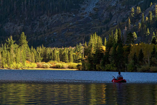 Photograph - Fly Fisherman On Silver Lake, California by Waterdancer