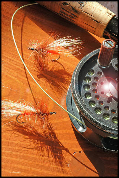Photograph - Fly Fisherman Table, Flies, Line And Reel by A Gurmankin