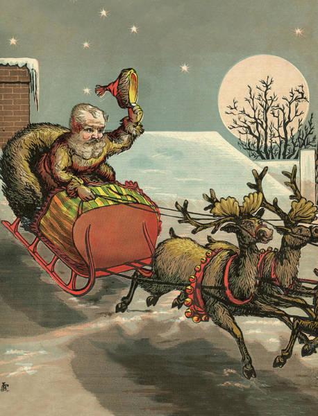 Chariot Wall Art - Digital Art - Flying Cheriots Of Santa by Long Shot