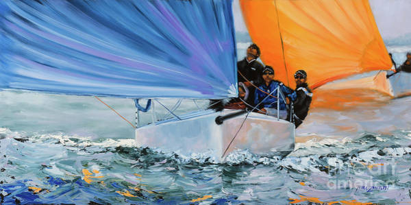 Blue Wave Painting - Flying Colors Two by Laura Lee Zanghetti