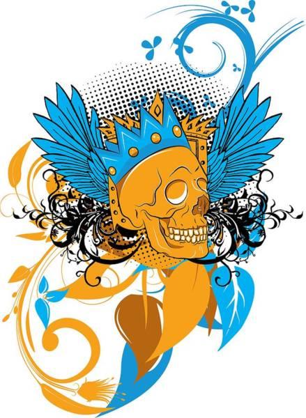 Digital Art - Flying Crowned Skull by Passion Loft