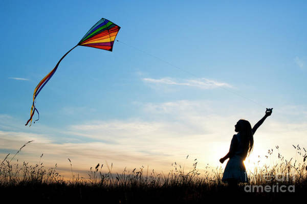 Flying A Kite Photograph - Flying Her Kite by Tim Gainey