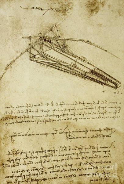 Wall Art - Drawing - Flying Machine, Codex Atlanticus By Leonardo Da Vinci by Leonardo Da Vinci