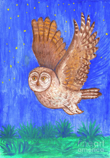 Painting - Flying Owl by Irina Dobrotsvet