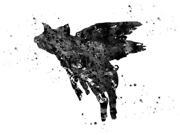 Handmade Wall Art - Digital Art - Flying Pig by Erzebet S