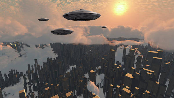 Photograph - Flying Saucers Over Futuristic by Bruce Rolff