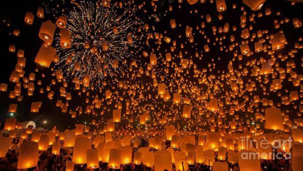 Wall Art - Photograph - Flying Sky Lantern On Yeepeng Festival by Anek.soowannaphoom
