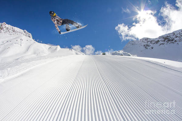 Wall Art - Photograph - Flying Snowboarder On Mountains by Merkushev Vasiliy