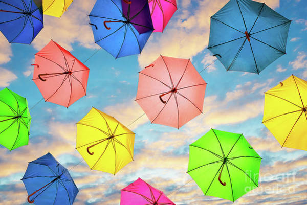Wall Art - Photograph - Flying Umbrellas by Delphimages Photo Creations