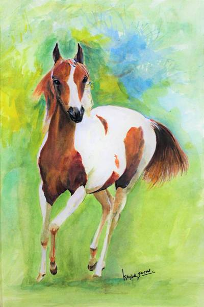Wall Art - Painting - Foal Stepping by Khalid Saeed