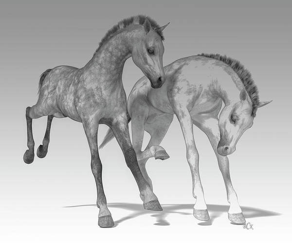 Wall Art - Digital Art - Foals Black And White Bleached by Betsy Knapp