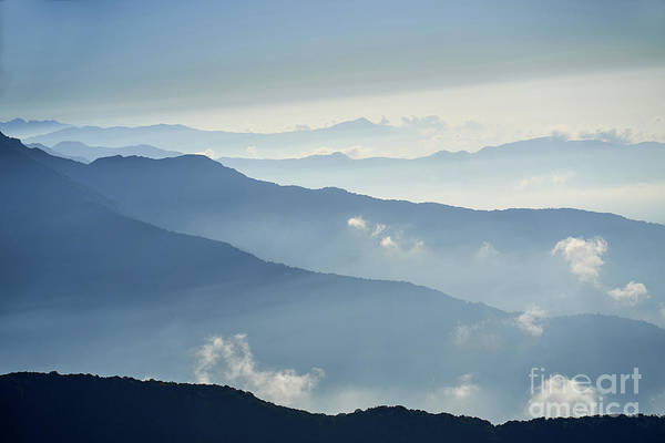 Photograph - Fog Above Mountain In Valley Himalayas Mountains by Raimond Klavins
