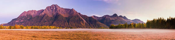South Central Alaska Photograph - Fog Fills A Grassy Field Below Twin by Kevin G. Smith