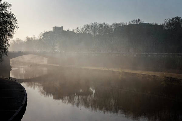 Photograph - Fog Over The Tiber River Rome Italy by Joan Carroll